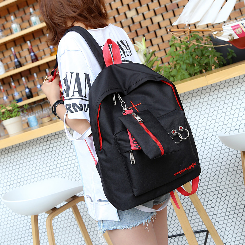 European And American Style Contrast Color Backpack Joker Black School Backpack For Teenage Girls Pure Color Unisex Travel Bag