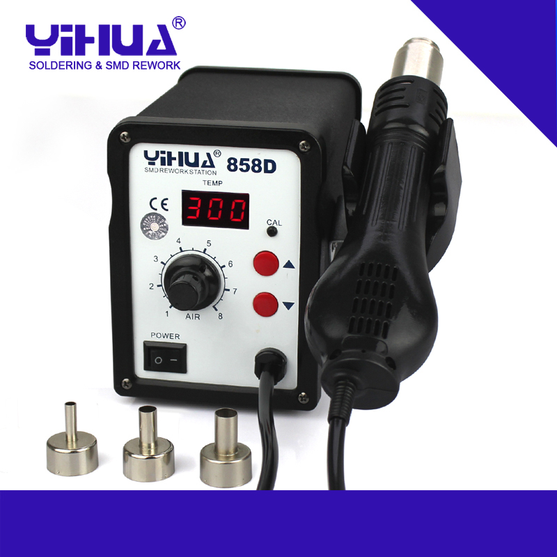 ФОТО 110V/220V YIHUA 858D Hot Air SMD Rework Station Heat Gun SMT Solder soldering iron Welding Repair