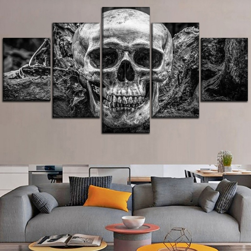 3 Sizes HD Canvas Painting Wall Art Poster Skull Hanging Picture Home Decor