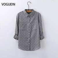 VOGUE N New Womens Ladies Spring Plaid Check Print Long Sleeve Casual Blouse Shirt Tops Candy