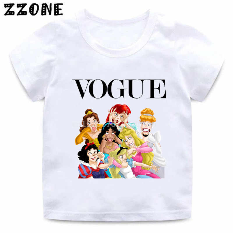 Baby Girls Funny Cute Princess Vogue Harajuku Print T shirt Kids Cartoon Clothes Children Summer Short Sleeve T-shirt,HKP5294