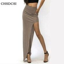 2017 New Fashion Charming Sexy Women Lady Long Skirts Open Side Split Skirt Long Maxi Skirt Black