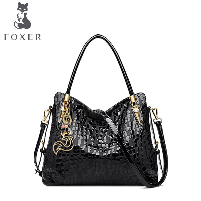 FOXER Leather handbag middle-aged ladies mother bag shoulder bag 2018 new portable messenger bag lacoste поло