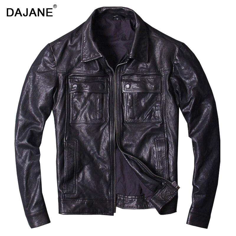 Revers cultiver sa moralité en cuir véritable manteau poche lavage plante et mouton en cuir véritable moto veste hommes genui