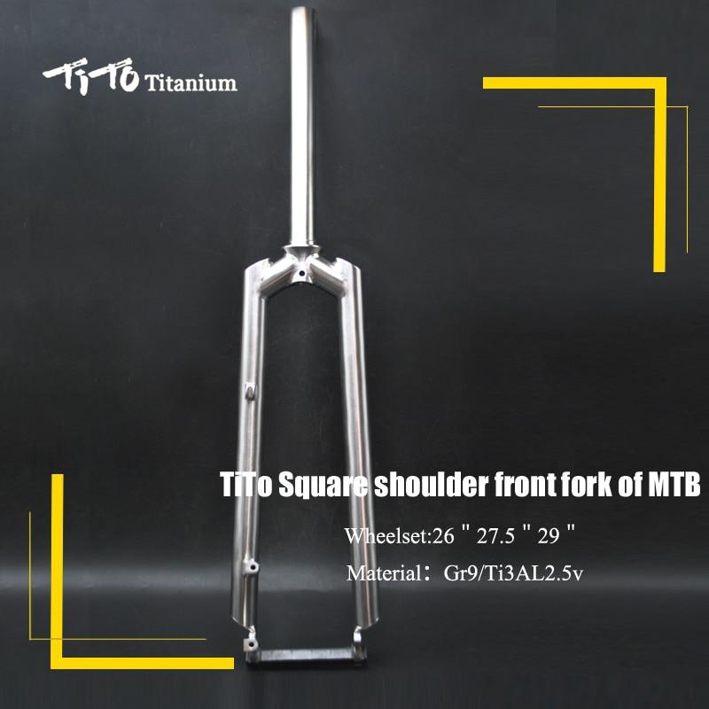 TiTo Gr.9 En Titane VTT vélo fourche avant à bandoulière carré PM/EST/V frein fourche en titane Titane fourche