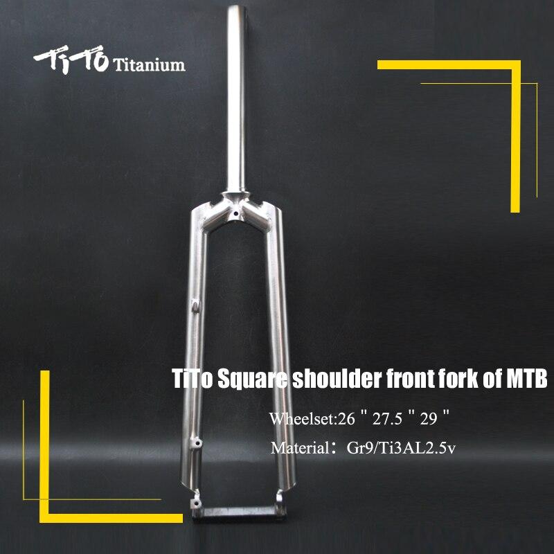 TiTo Gr.9 MTB Titanio della bici forcella anteriore di spalla piazza PM/IS/V freno in titanio forcella della bicicletta di Titanio forchetta