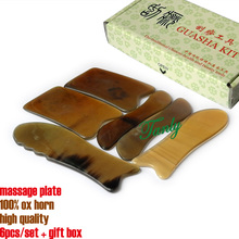 100% ox horn good quality beauty salon massage Guasha tool 6pcs/set Model Ox Horn No: 16