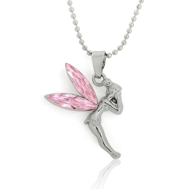 Dawapara angel fairy pink crystal wings pendant tinkerbell necklace dawapara angel fairy pink crystal wings pendant tinkerbell necklace boxed fashion jewelry womens clothing accessories gifts aloadofball Images
