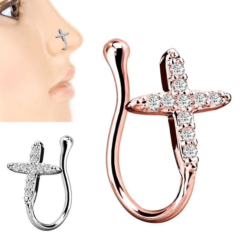 1PC Fake Nose Ring Nose Clip Cooper Zircon Body Piercing Ear Clip