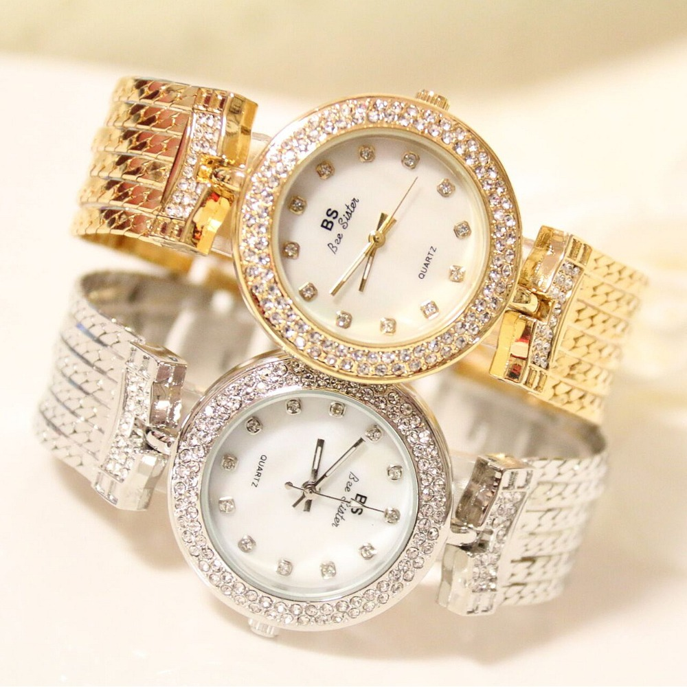 New Fashion Brand BS Quartz Watch Gold Bracelet Bling Diamond Bracelet Watch Lady Luxury Crystal Dress Watch Bangle Bracelet spring big sale brand bs luxury 14k gold diamond women watch lady gold siliver dress watch rhinestone bangle bracelet