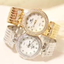 Moda de nueva Marca BS de Cuarzo Reloj de Pulsera de Oro Pulsera de Reloj de Señora de Lujo Del Diamante de Bling Crystal Vestido Reloj Pulsera Brazalete