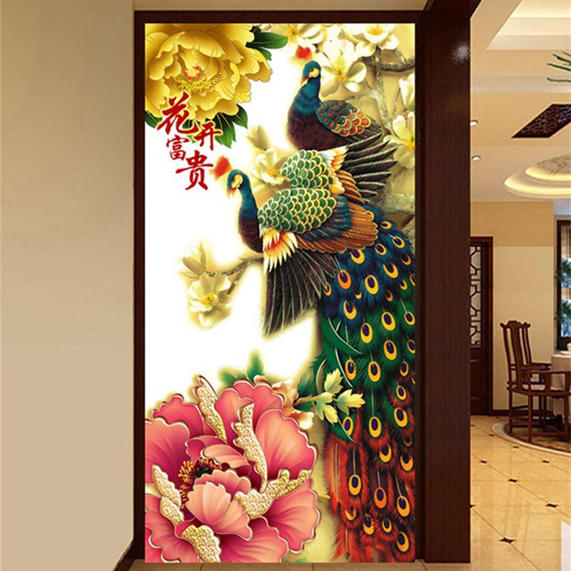 50 100cm 5D diy diamond painting animal peacocks pictures of rhinestones round cross stitch needlework home