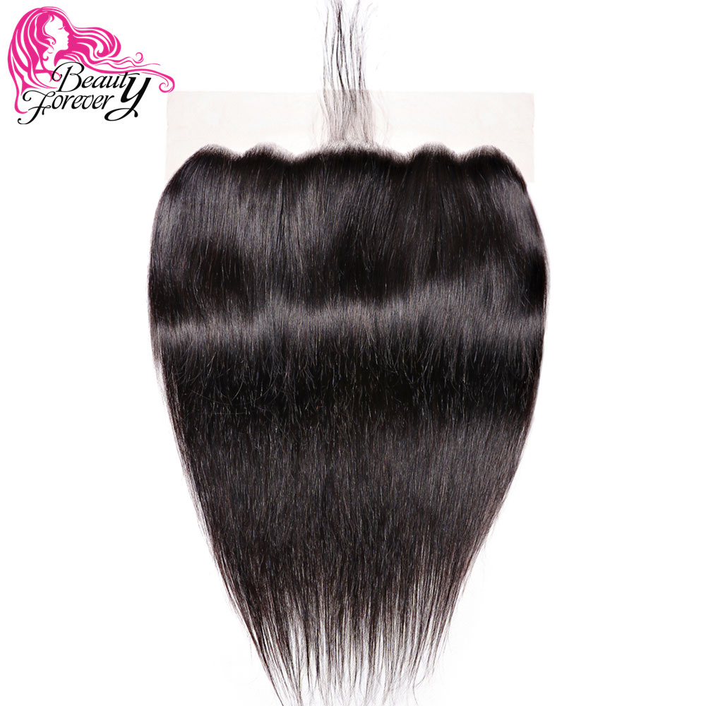 Beauty Forever 13 6 Brazilian Straight Lace Frontal 100 Remy Human Hair Free Part Natural Color