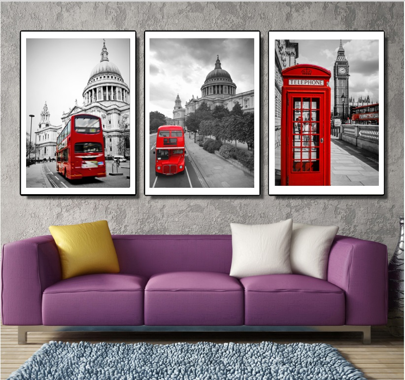 Retro Street Scene Red Bus 3 Pieces Decorative Painting Modular Picture Wall Art Canvas Painting for Living Room No Framed