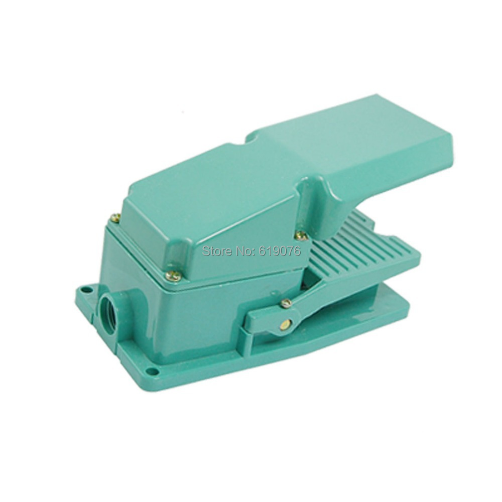 TFS-302 AC 250V 15A Antislip Metal Momentary Industrial Treadle Foot Pedal Switch Green tend tfs 2 foot pedal switch for medical equipment green 90cm