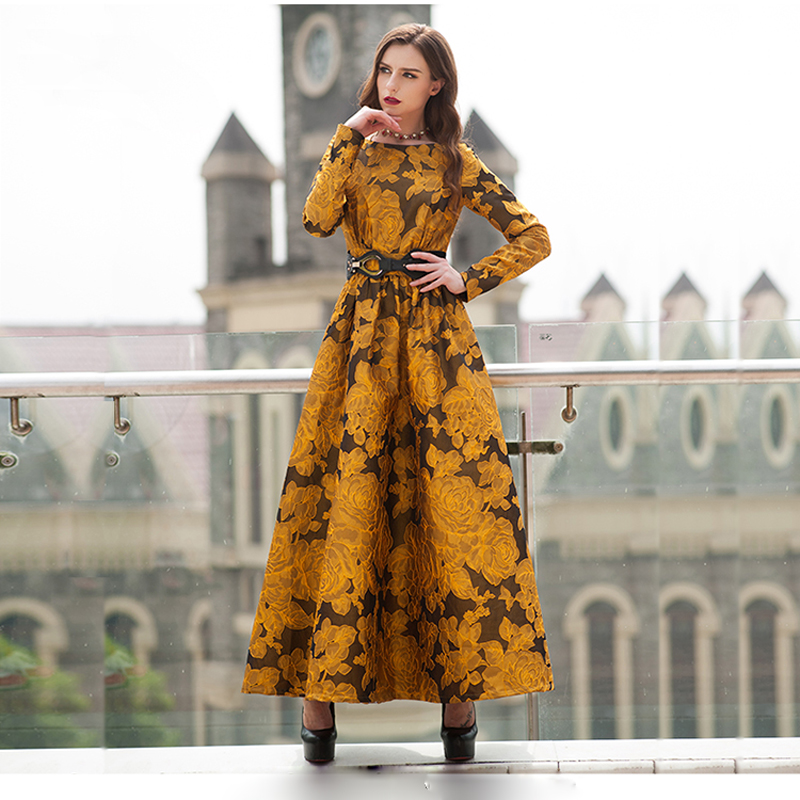 Newest Fall 2017 Designer Maxi Dress Party Women S Long Sleeve Gorgeous Fl Jacquard Plus Size 3xl In Dresses From Clothing