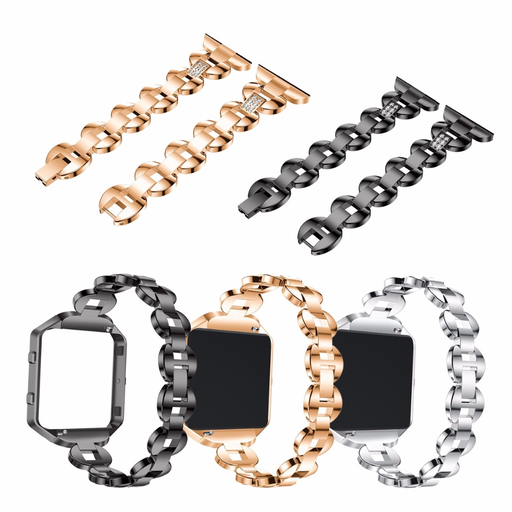 For Fitbit Blaze,  Replacement Metal Bracelet Adjustable  Rhinestone Fitbit Blaze  Bands Silver Rose Gold  Black joyozy replacement stainless steel chain bands with metal frame for fitbit blaze silver black rose gold