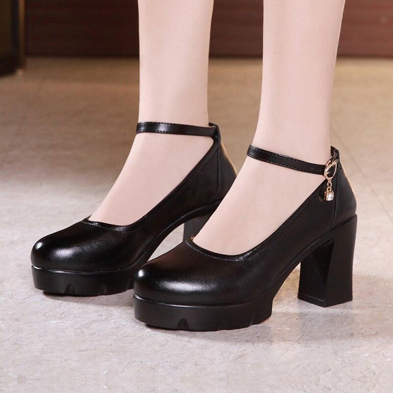 Bloc Classique Printemps Automne À forme Dames 2019 Chaussures Cheville Boucle Hauts Plate Tête Talons Bureau Pompes Noir Ronde Femmes EEv1qxSr