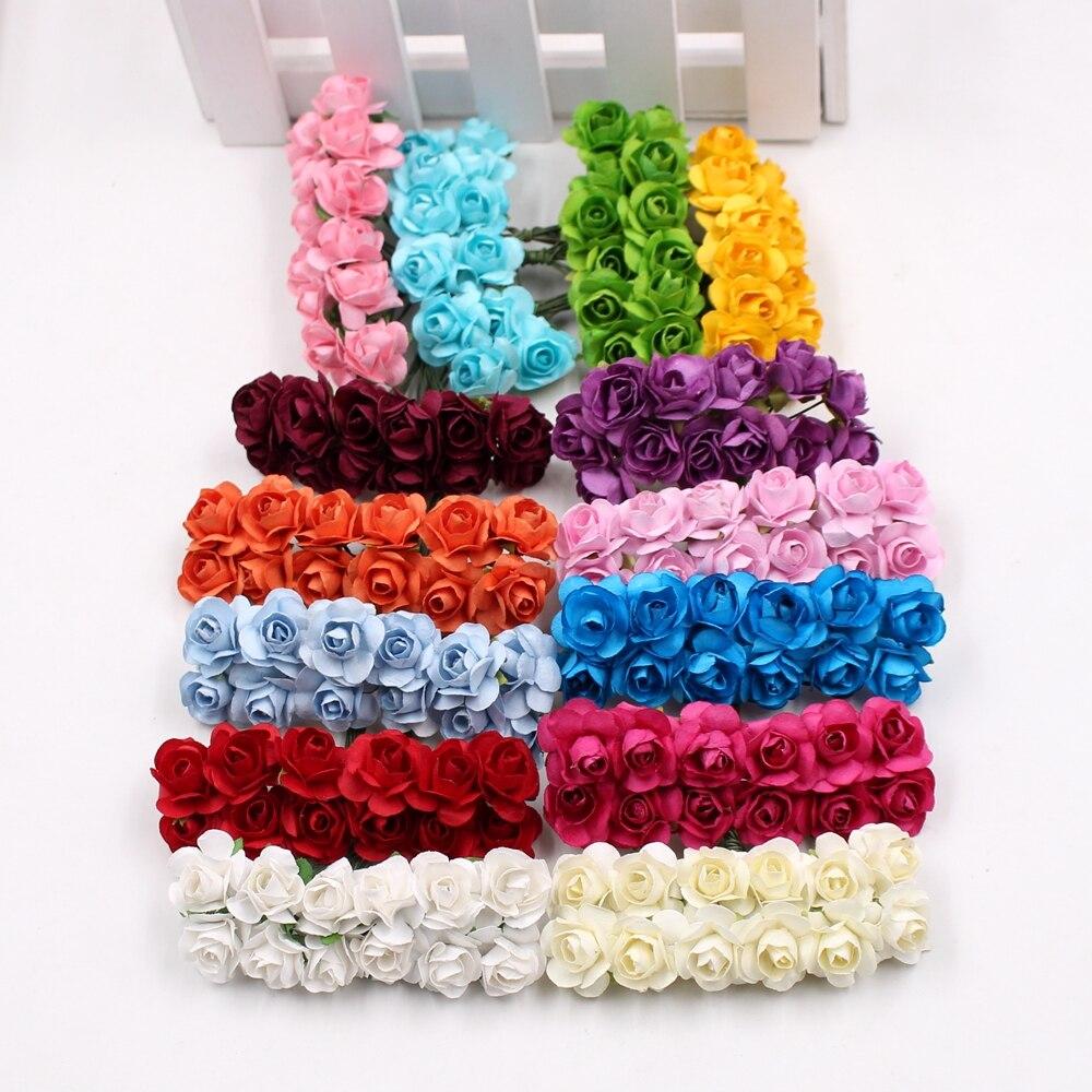 144pcs/lot Artificial Flower Mini Cute Paper Rose Handmade For Wedding Decoration DIY Wreath Gift Scrapbooking Craft Fake Flower