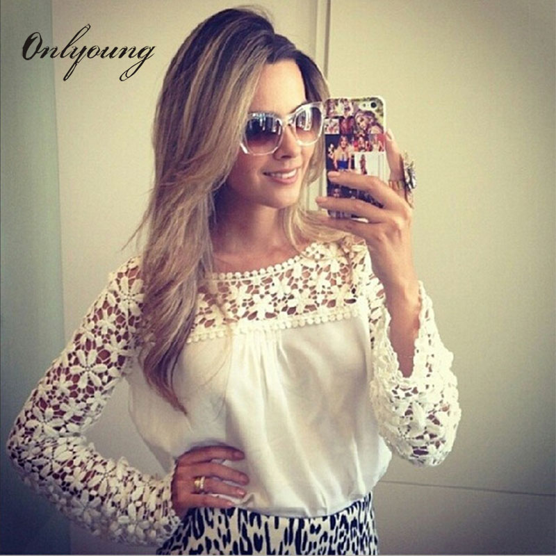 Onlyoung 2017 Summer Women White Lace   Blouse   Plus Size xxxl xxxxl 3xl 4xl 5xl 6xl Lady Loose Crochet Chiffon Female   Blouse     Shirt