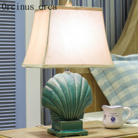 Mediterranean Blue Ceramic Table Lamp Living Room Bedroom Modern Simple Garden Creative Shell Lamp Free Shipping