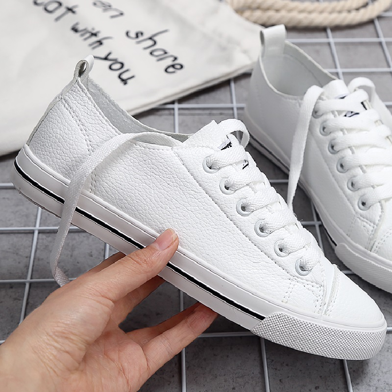 Women Casual Shoes 2018 Breathable Genuine Leather Women Sneakers Fashion Female White Flats Spring Summer Lace Up Women Shoe's