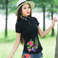 Traditional Chinese clothing 2017 plus size women clothing m-4xl mandarin collar green black white red embroidery blouse shirt