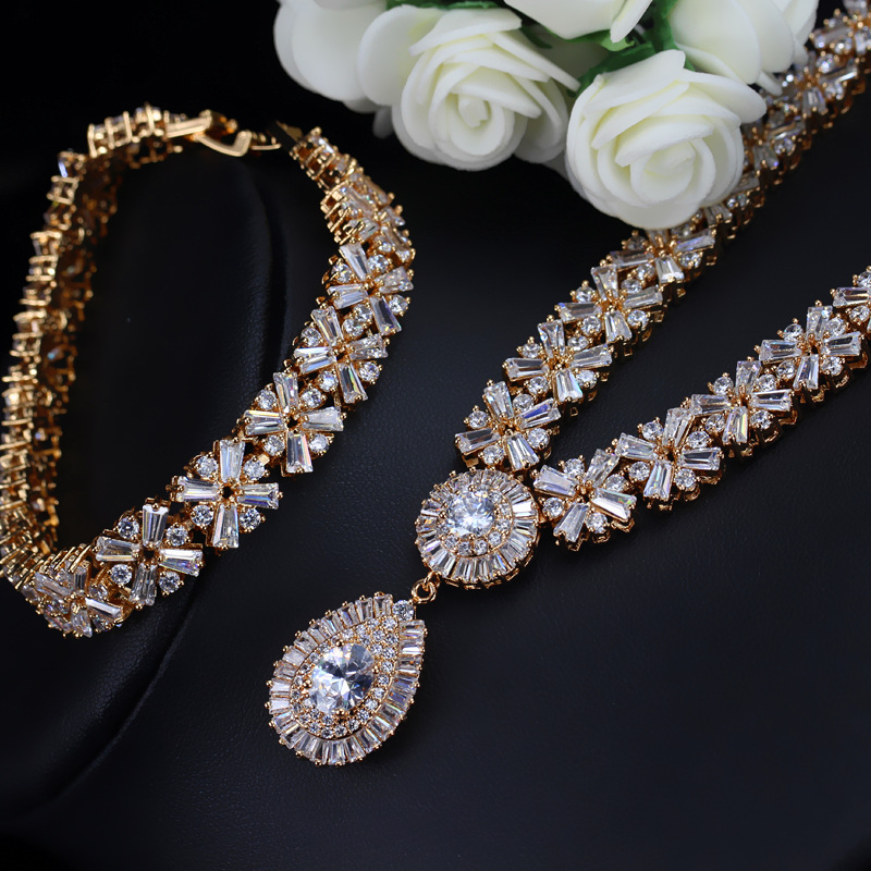 CWWZircons Exclusive Dubai Gold Color Necklace Earring Bracelet Jewelry Set For Women