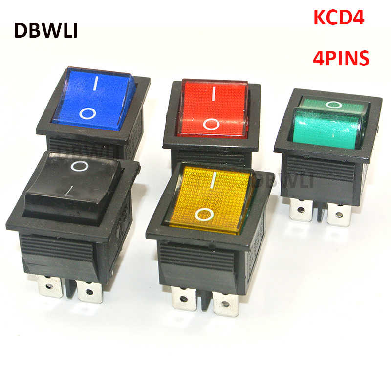 5PCS KCD4-202 DPST boat rocker switch power switch 4 feet with red green blue yellow  light 31x25mm 20A 125VAC 16A 250VAC