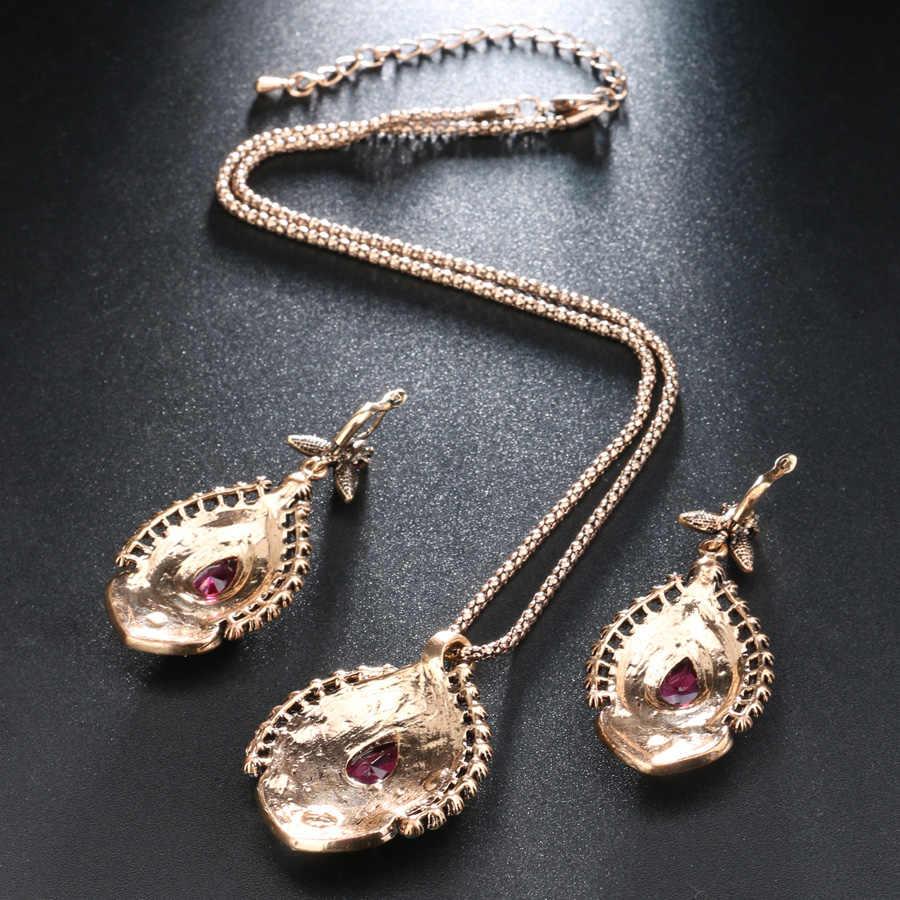 Kinel 3 adet Vintage takı setleri kadınlar için antika altın pembe kristal düğün parti küpe kolye yüzük kadın türk takı