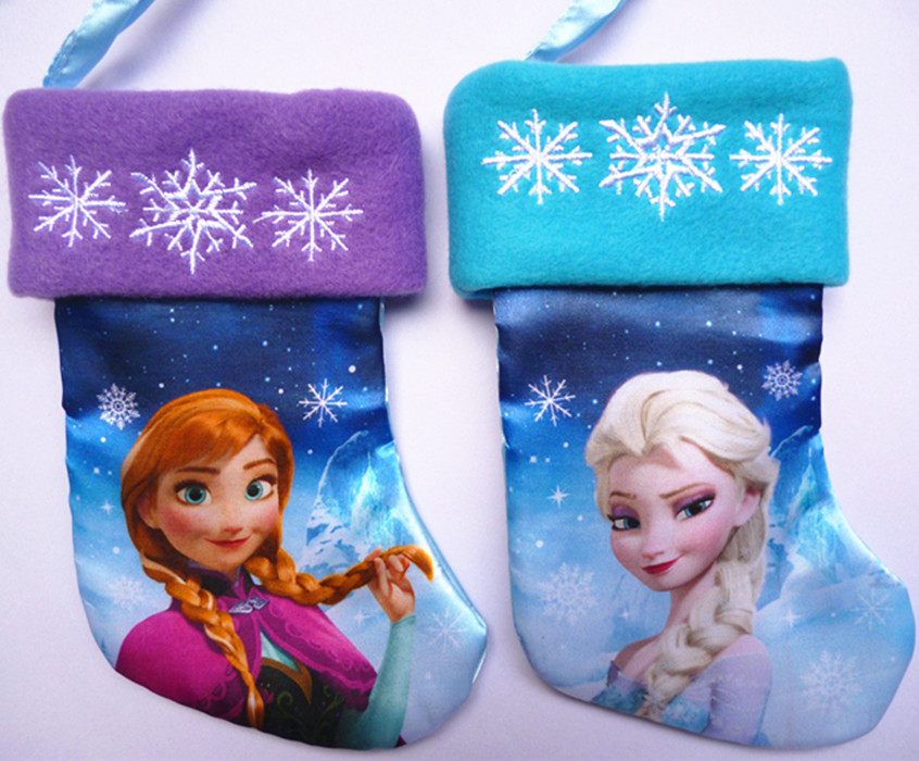 19.5cm satin Elsa and Anna Olaf movie Cartoon Christmas sock stocking Christmas gift bag