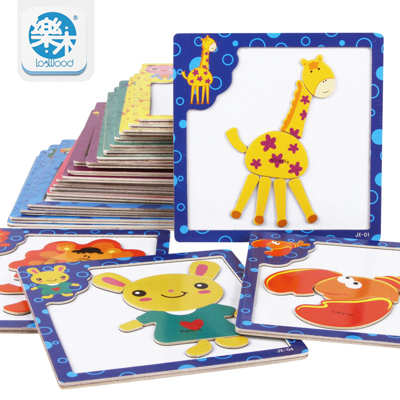 Logwood 3D jigsaw puzzle for children wooden toy kids games
