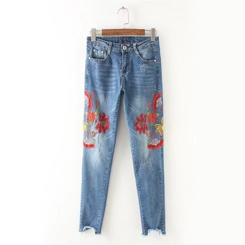 New 2017 Vintage Floral Embroider Jeans Women Sexy Ripped Pencil Denim Pants Female Slim Casual Trousers Boyfriend Jeans Woman 2017 ripped jeans women casual denim ankle length boyfriend pants women floral embroidered flares hole female slim pencil pants