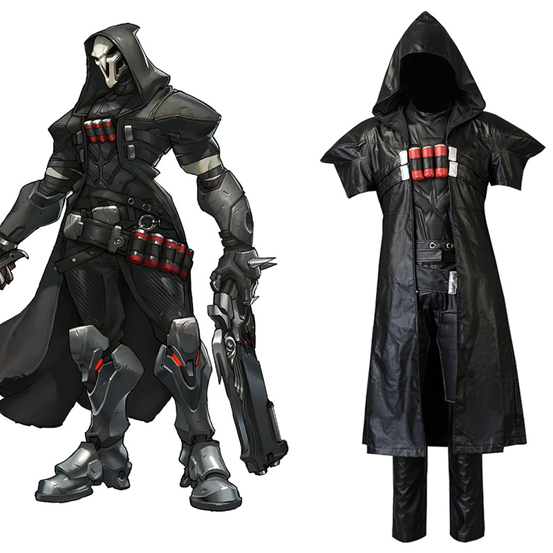 Game OW Cosplay Costume Over and Watch Gabriel Reyes Reaper Clothes Set(5 pieces) for Men Carnival Halloween Costumes 2xs-3xl