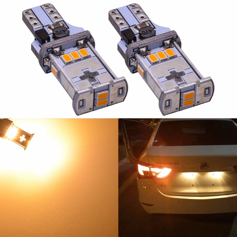 Katur 2Pcs T15 W16W LED Bulbs 912 921 Car LED Back-up Light Auto Reverse Lamp Canbus No Error SMD 3020 White Xenon Yellow Orange 2 x error free super bright white led bulbs for backup reverse light 921 912 t15 w16w for peugeot 408