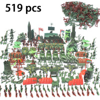 519pcs Plastic Soldier Set Toy Army Figure Accessories Sandbox Game Gun Rocket Motor Toys For Kids Boys Collection