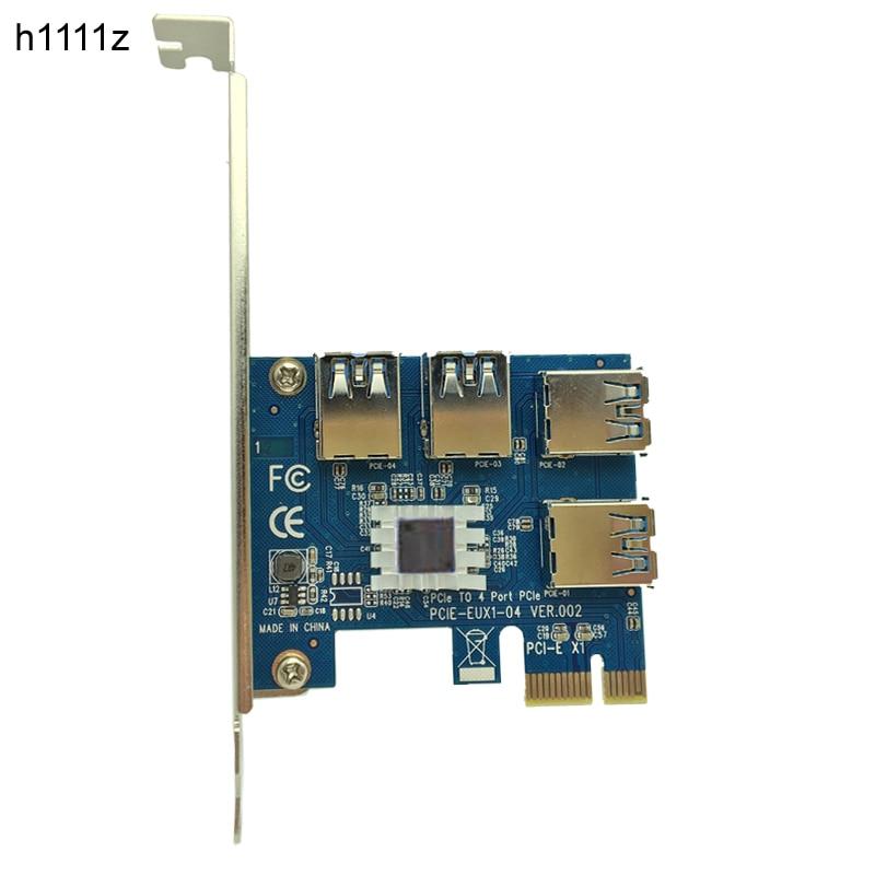 Nuevo PCIe 1 a 4 PCIe 16X Riser Card PCI-E 1X a 4 USB 3,0 PCI-E Riser adaptador Puerto multiplicador tarjeta para BTC Bitcoin Miner minería