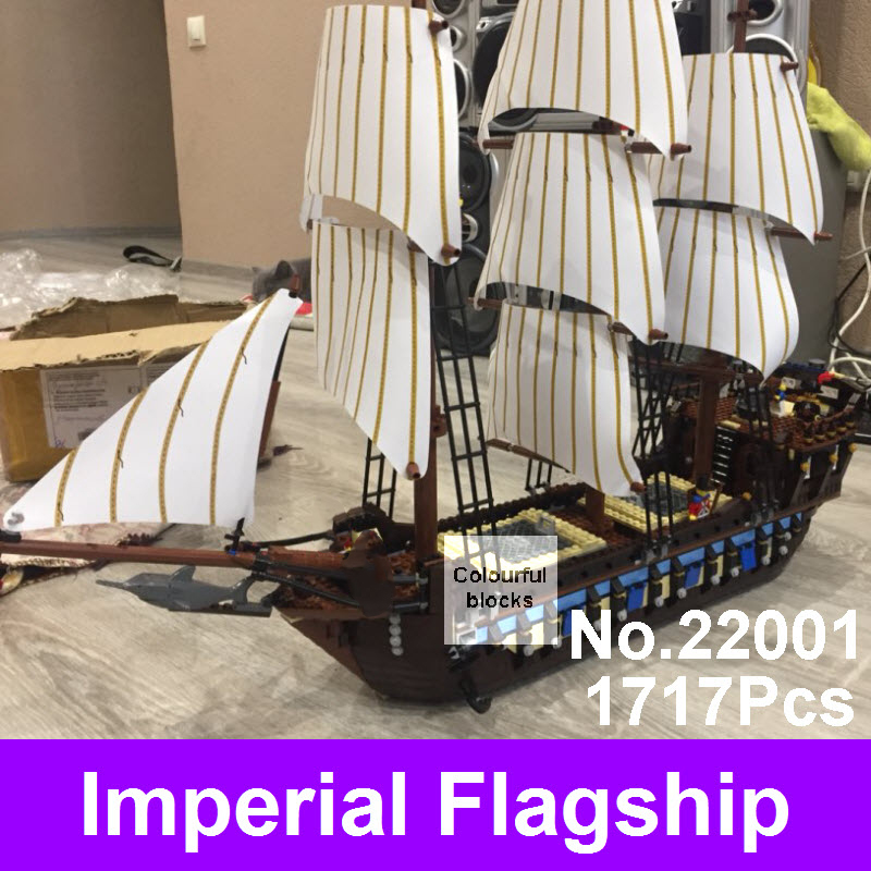 2017 LEPIN 22001 Pirate Ship Imperial Warships Model Building Kits Blocks Bricks Toys Kids Christmas Gifts Compatible With 10210 new lepin 22001 pirate ship imperial warships model building block kitstoys gift 1717pcs compatible10210 children birthday