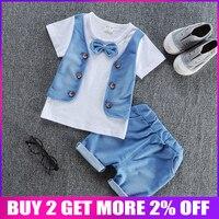 BibiCola/Новая летняя одежда для маленьких мальчиков хлопковый комплект одежды для мальчиков, футболка с короткими рукавами + шорты, спортивный...