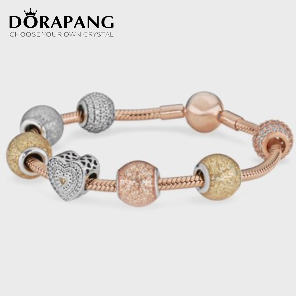 DORAPANG 100%925 pure silver bead love attractive fashion suit with bracelet diy bracelet lover gift The factory wholesale цены