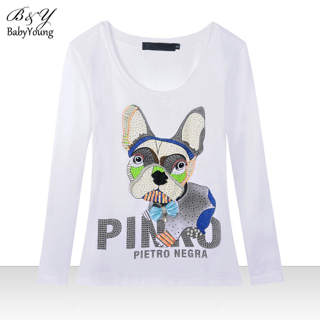 2016 Spring T Shirt Women Round Neck Long-Sleeved Camisetas Mangy Dog Cartoon Personality T-Shirt Bottoming Shirt