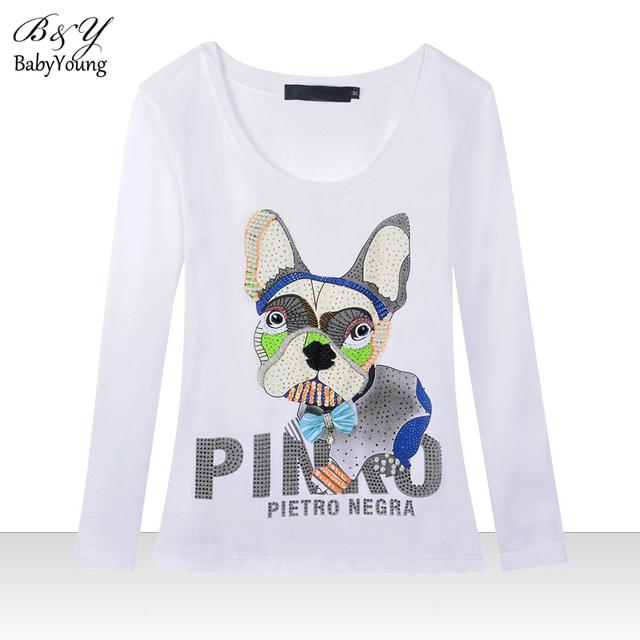 2016 primavera T Shirt mulheres em torno do pescoço de mangas compridas Camisetas sarnento cão dos desenhos animados personalidade T - camisa de assentamento