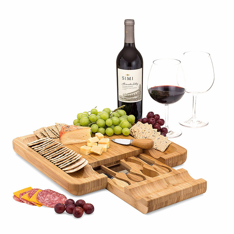 Bamboo Cheese Board Wooden Cutting board with Handle Knives Sets Cooking Tools Cheese Knife Cheese Slicer Fork Scoop Cutter HW88(China)