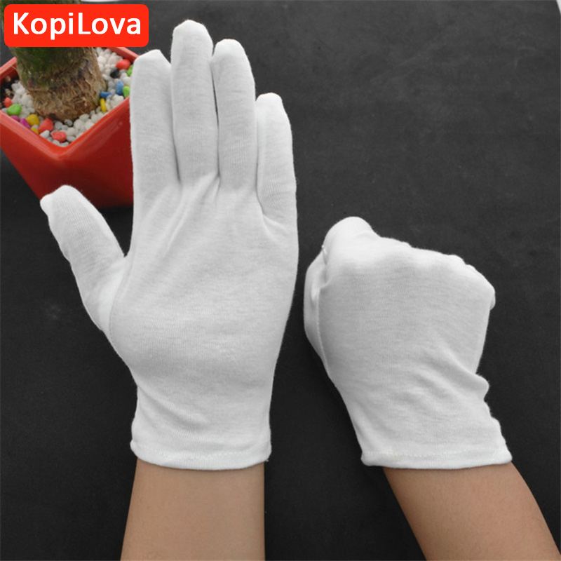 KopiLova Thicken White Cotton Gloves Performances Gloves Driver Safety Gloves Etiquette Reception Parade Gloves Free Shipping 1 double cotton gloves white green