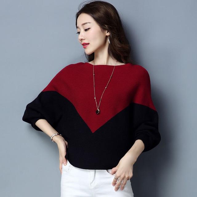 נשים סוודר רופף סוודר סרוג כותנה עטלף שרוול לסרוג למעלה סתיו סוודרים למשוך מקרית גבירותיי בת שרוול Jumper חולצות