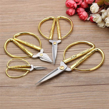 4 Size Stainless Steel Gold Sewing Scissors Short Cutter Durable High Steel Vintage Tailor Scissors for Fabric Craft Household,B size 2 alloy gold and white scissors