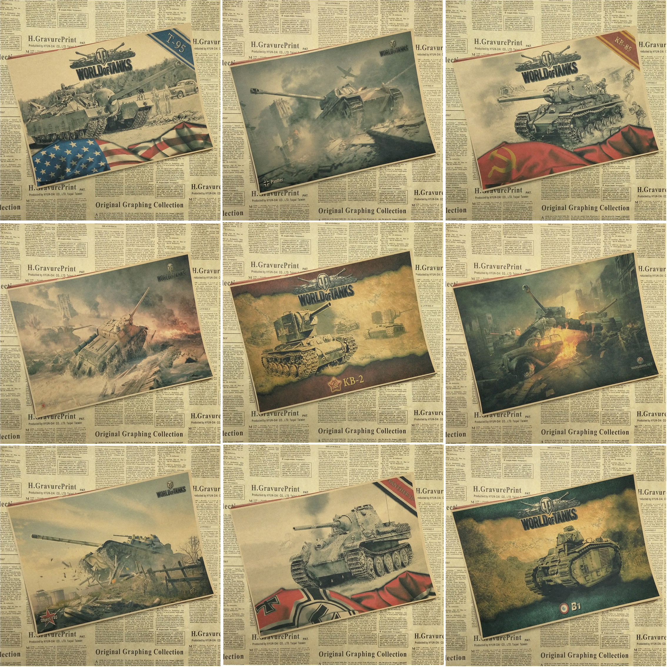 World of Tanks WOT A gather The Second World War Tank Home Furnishing decoration Kraft Game Poster Drawing core Part 2