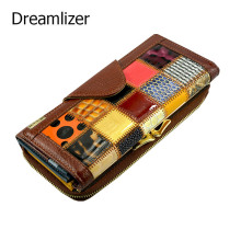 Dreamlizer fold hasp patchwork clutch coin pocket wallets genuine purse wallet