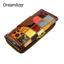 Dreamlizer 3 Fold Fashion Genuine Leather Women Wallets Patchwork Hasp Coin Pocket Female Clutch Women Purse Wallet
