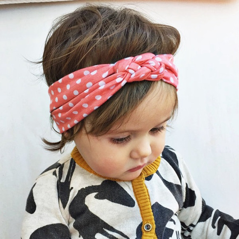 Infantil dot baby haibands Baby flicka twisted headdress hårband Bandana head wrap hår tillbehör för barn 1pc HB444